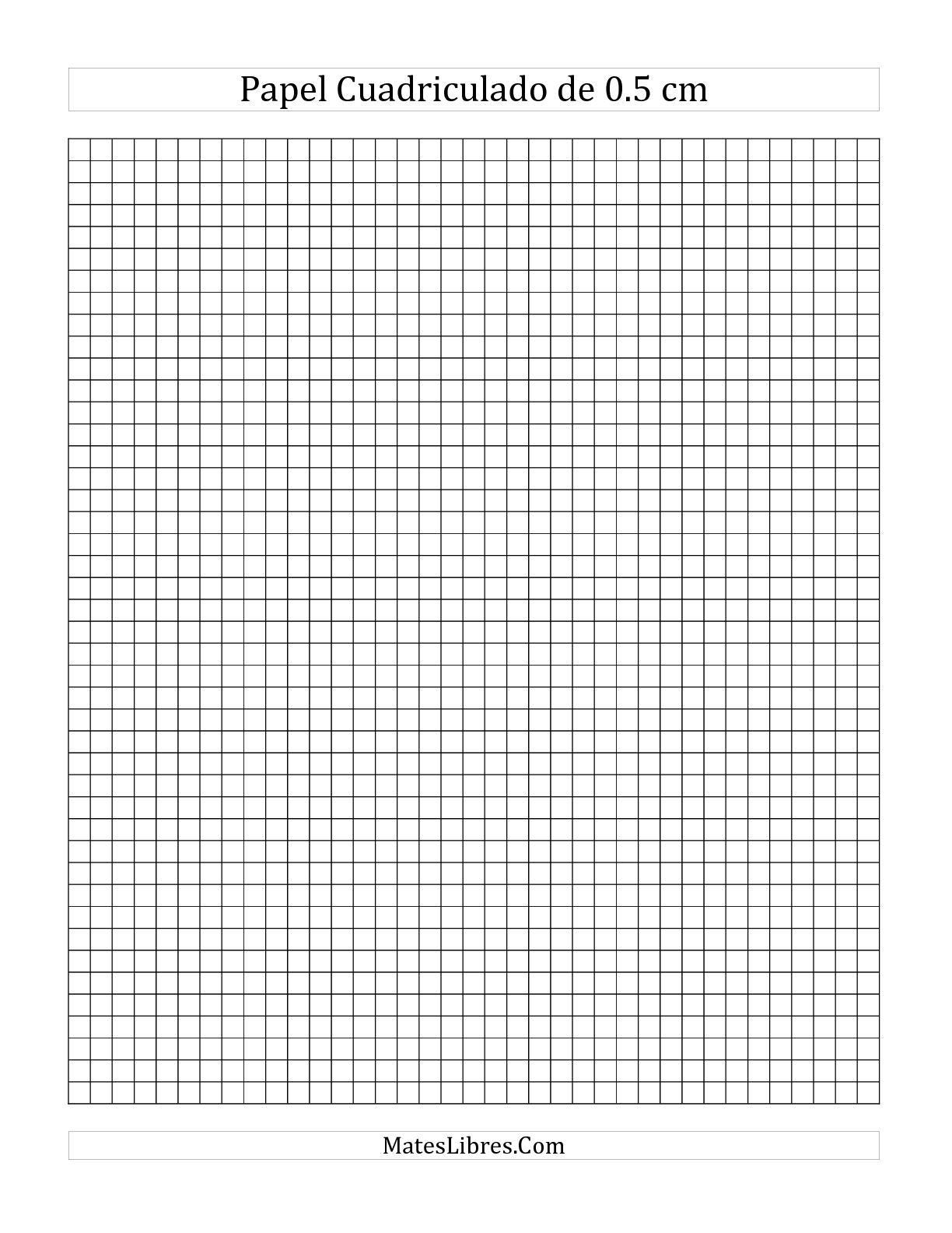 La Papel Cuadriculado de 0.5 cm (A) Hoja de Ejercicio de Papel Cuadriculado