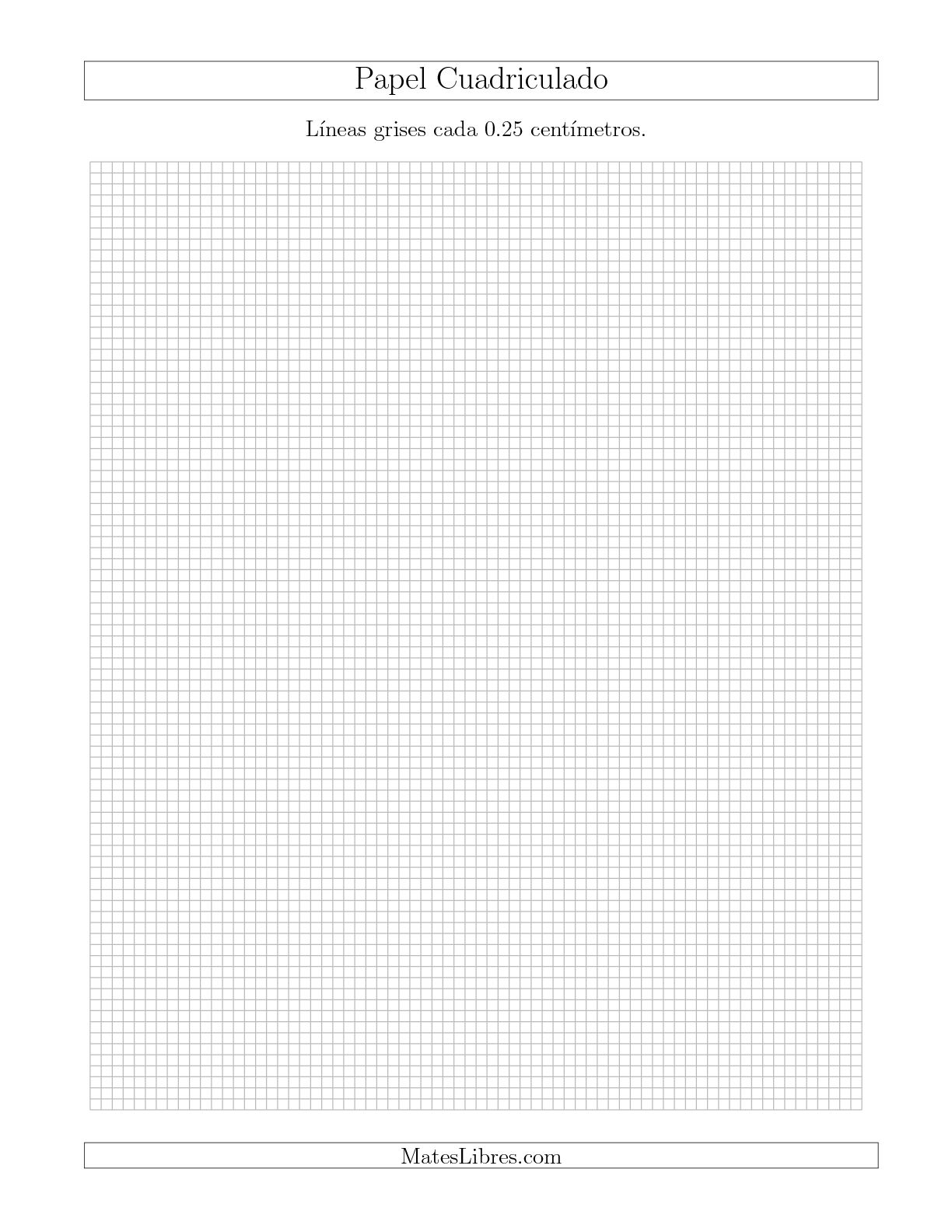 La Papel Cuadriculado de Líneas Grises cada 0.25cm, Tamaño de Papel Carta Hojas de Papel Cuadriculado