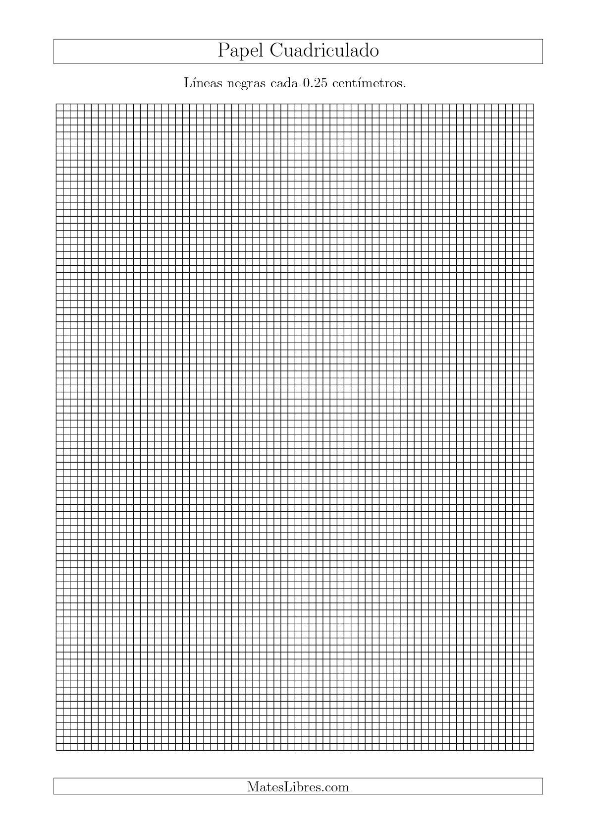 La Papel Cuadriculado de Líneas Negras cada 0.25cm, Tamaño de Papel A4 Hojas de Papel Cuadriculado