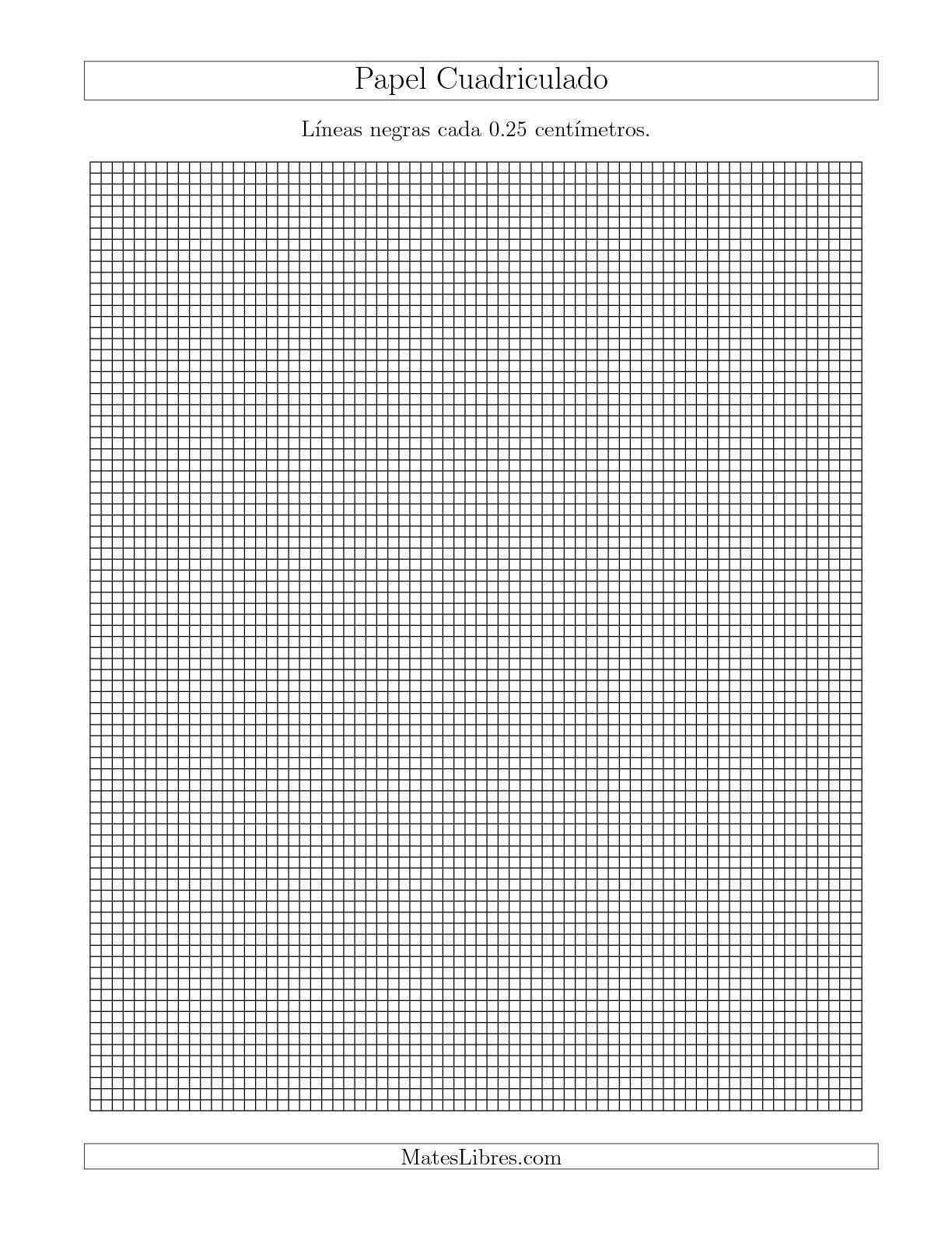 La Papel Cuadriculado de Líneas Negras cada 0.25cm, Tamaño de Papel Carta Hojas de Papel Cuadriculado