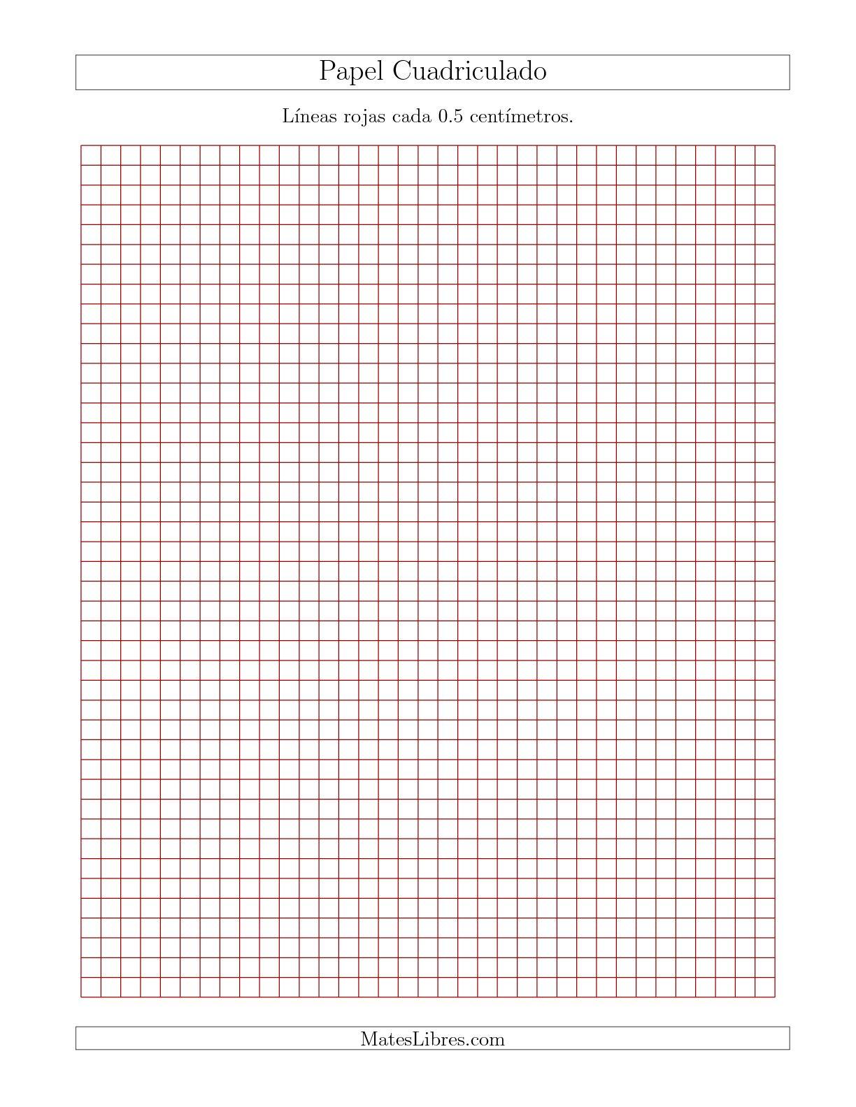 La Papel Cuadriculado de Líneas Rojas cada 0.5cm, Tamaño de Papel Carta Hojas de Papel Cuadriculado