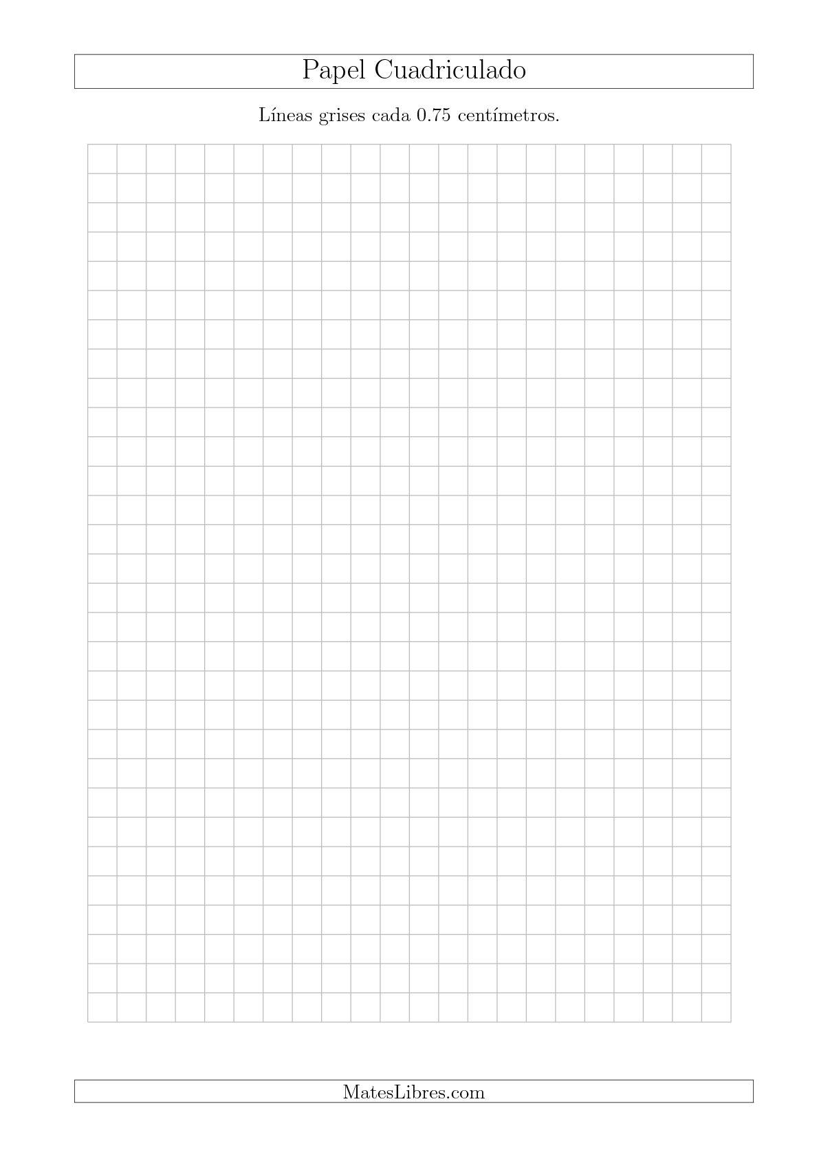 La Papel Cuadriculado de Líneas Grises cada 0.75cm, Tamaño de Papel A4 Hojas de Papel Cuadriculado