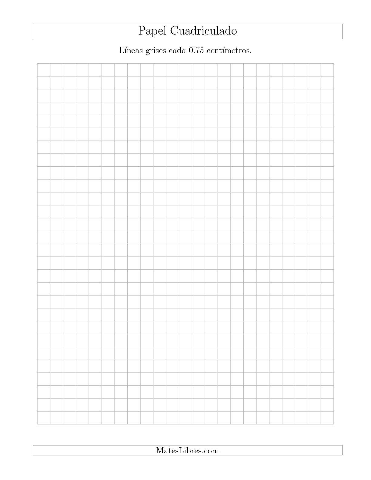 La Papel Cuadriculado de Líneas Grises cada 0.75cm, Tamaño de Papel Carta Hojas de Papel Cuadriculado