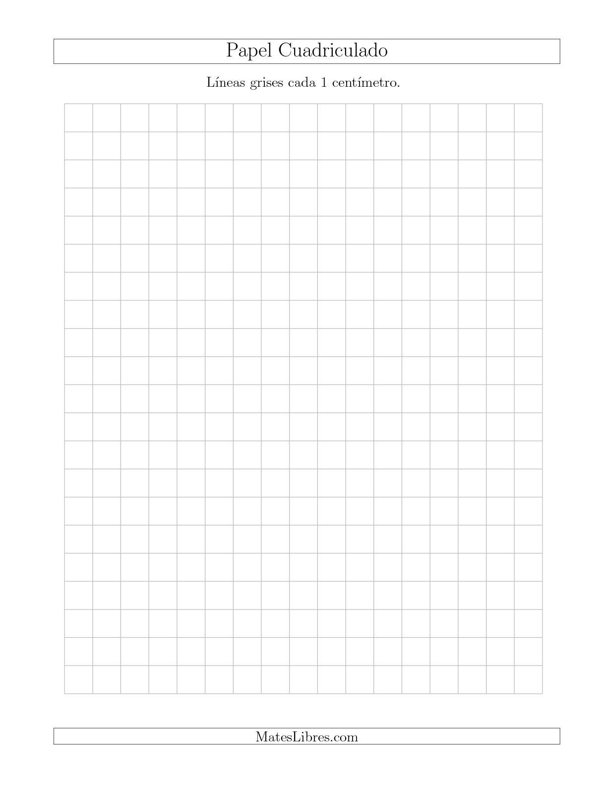 La Papel Cuadriculado con Líneas Grises cada 1cm, Tamaño de Papel Carta Hojas de Papel Cuadriculado