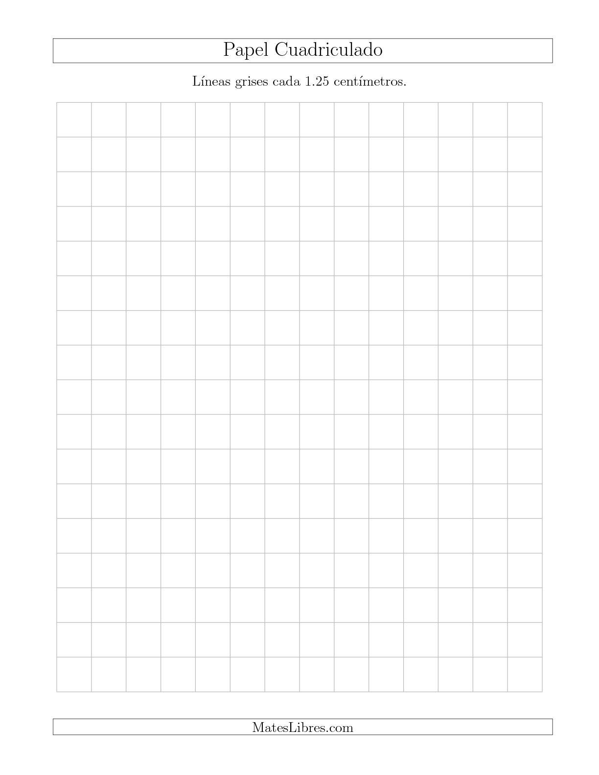 La Papel Cuadriculado con Líneas Grises cada 1.25cm, Tamaño de Papel Carta Hojas de Papel Cuadriculado