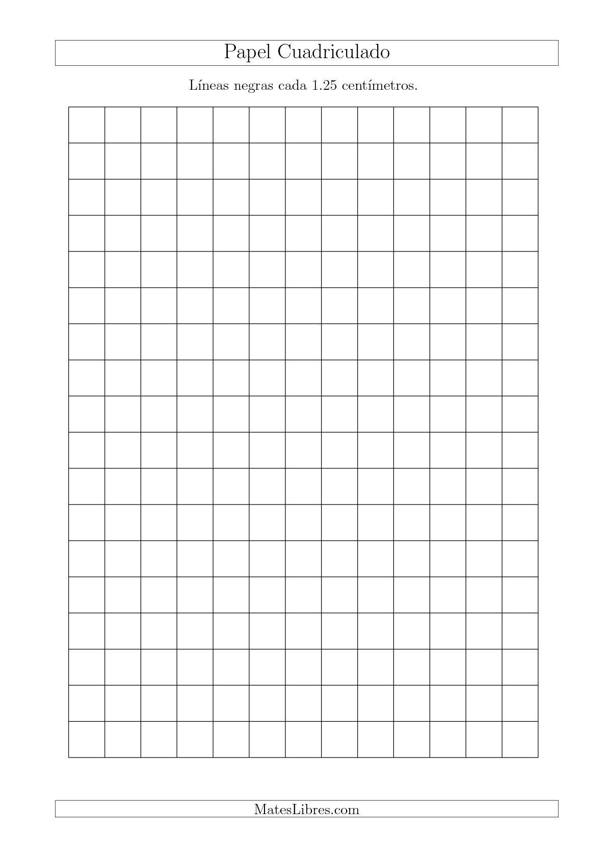 La Papel Cuadriculado con Líneas Negras cada 1.25cm, Tamaño de Papel A4 Hojas de Papel Cuadriculado