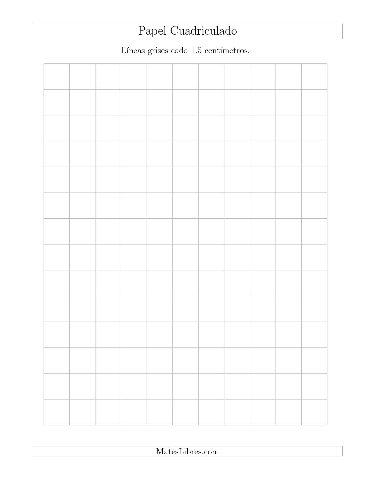 La Papel Cuadriculado con Líneas Grises cada 1.5cm, Tamaño de Papel Carta Hojas de Papel Cuadriculado