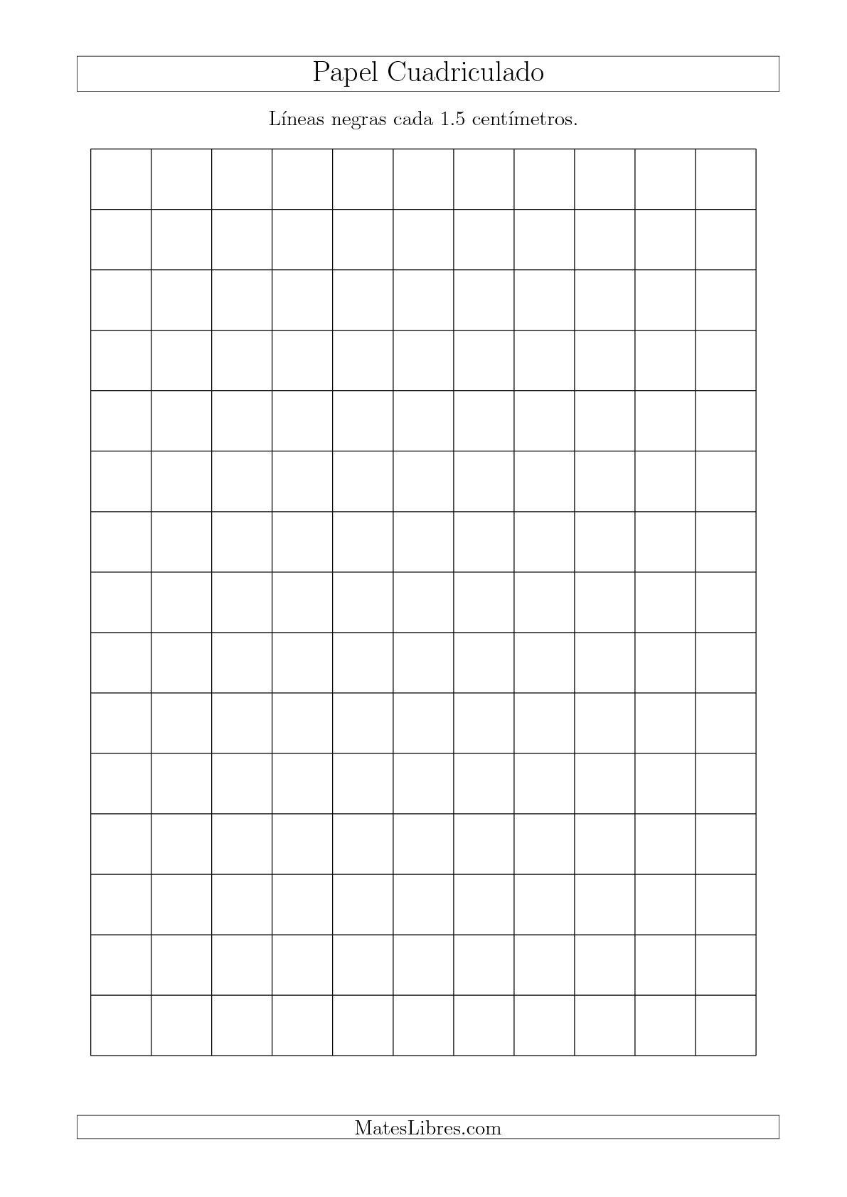 La Papel Cuadriculado con Líneas Negras cada 1.5cm, Tamaño de Papel A4 Hojas de Papel Cuadriculado