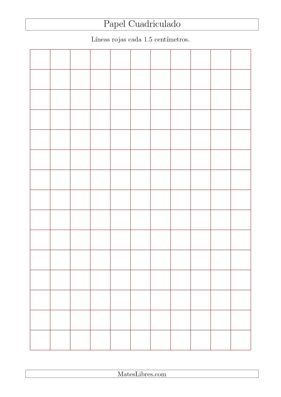 La Papel Cuadriculado con Líneas Rojas cada 1.5cm, Tamaño de Papel A4 Hojas de Papel Cuadriculado