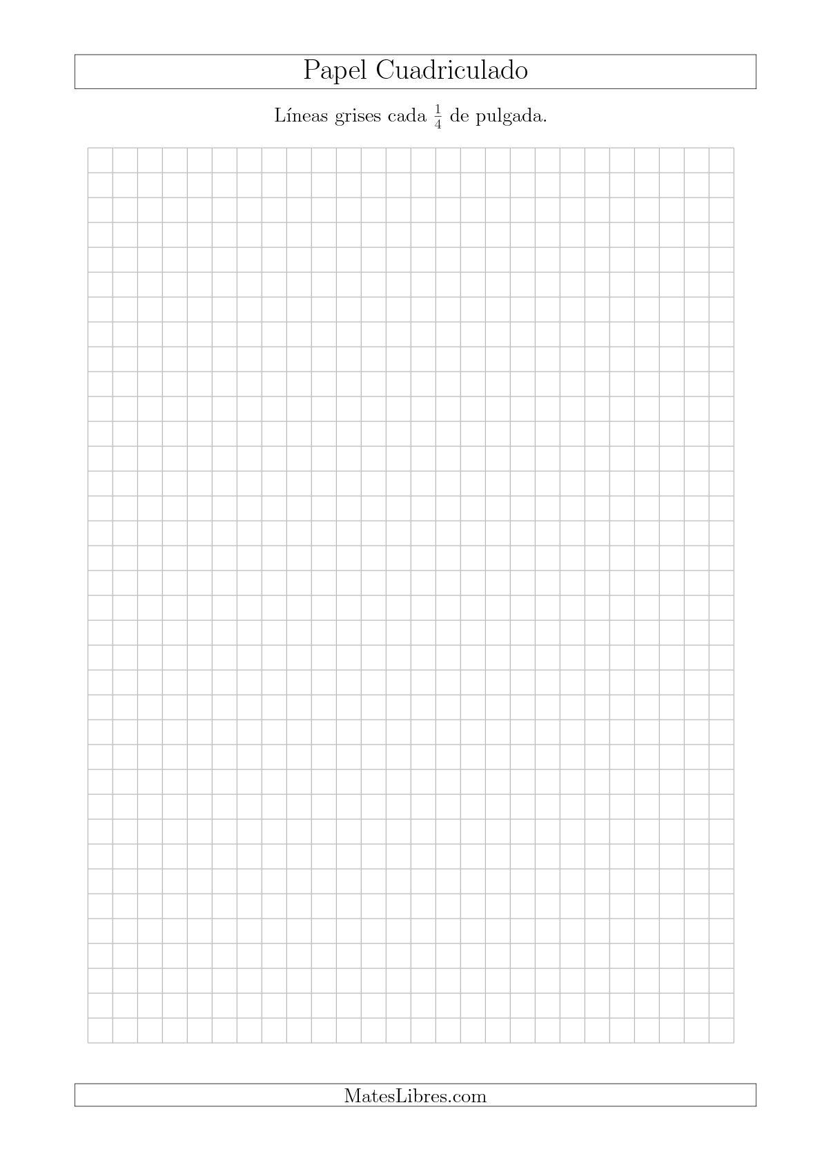 La Papel Cuadriculado con Líneas Grises cada 1/4 de Pulgada, Tamaño de Papel A4 Hojas de Papel Cuadriculado