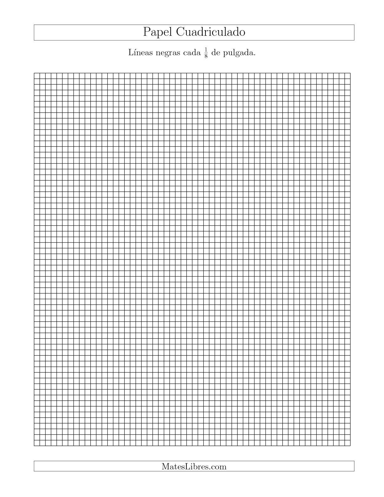 La Papel Cuadriculado con Líneas Negras cada 1/8 de Pulgada, Tamaño de Papel Carta Hojas de Papel Cuadriculado