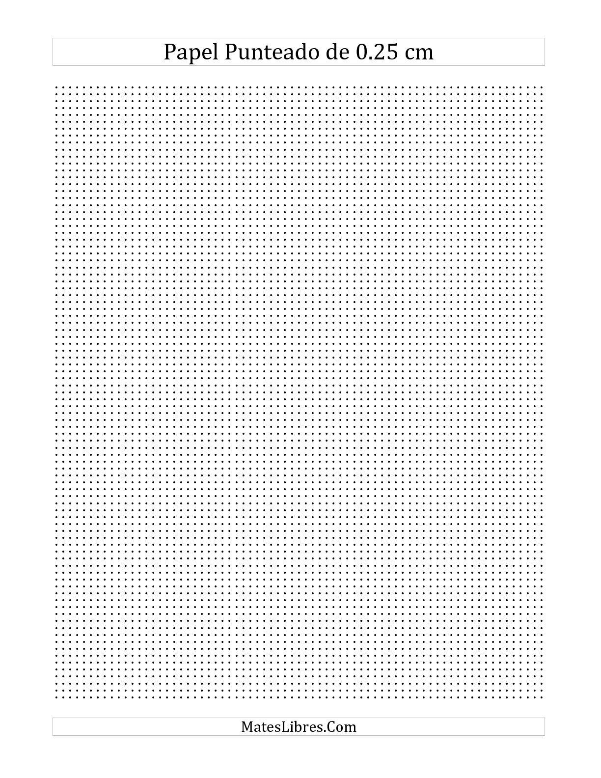 La Papel Punteado de 0.25 cm (A) Hoja de Ejercicio de Papel Cuadriculado