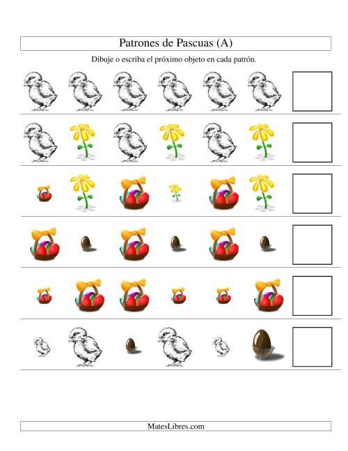 Patrones y Secuencias de Pascuas, Dos Atributos (Forma, Tamaño) (A)
