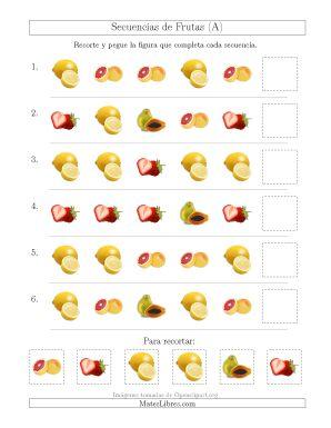 Secuencias de Imágenes de Frutas Cambiando el Atributo Forma (A)