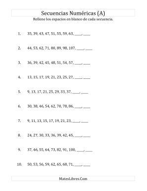 Secuencias Numéricas Crecientes (Sencillas) (A)
