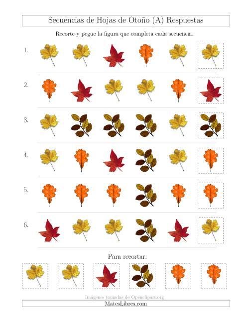 Secuencias de Imágenes de Hojas de Otoño Cambiando el Atributo Forma (A)