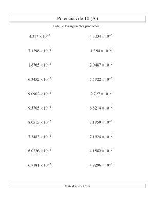 Multiplicar Decimales por Potencias Negativas de 10 (Exponencial) (A)