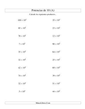 Multiplicar Enteros por Potencias Positivas de 10 (Exponencial) (A)