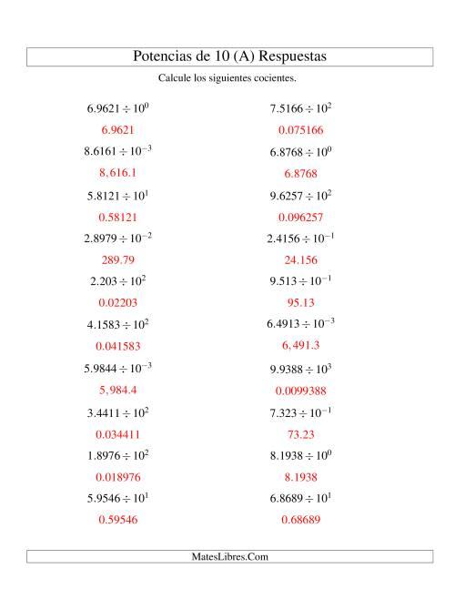 Dividir Decimales por Potencias Positivas y Negativas de 10 ...