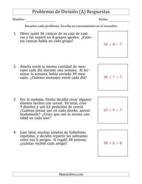 Problemas de División con Números entre 5 y 12 (A)