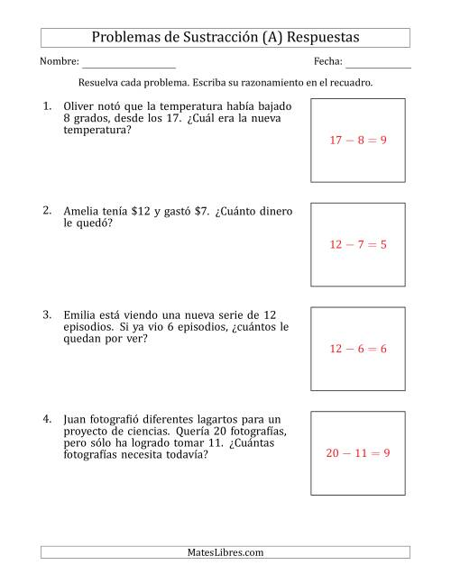 Subtraction Word Problems with Subtraction Facts from 5 to 12 (A) Página 2