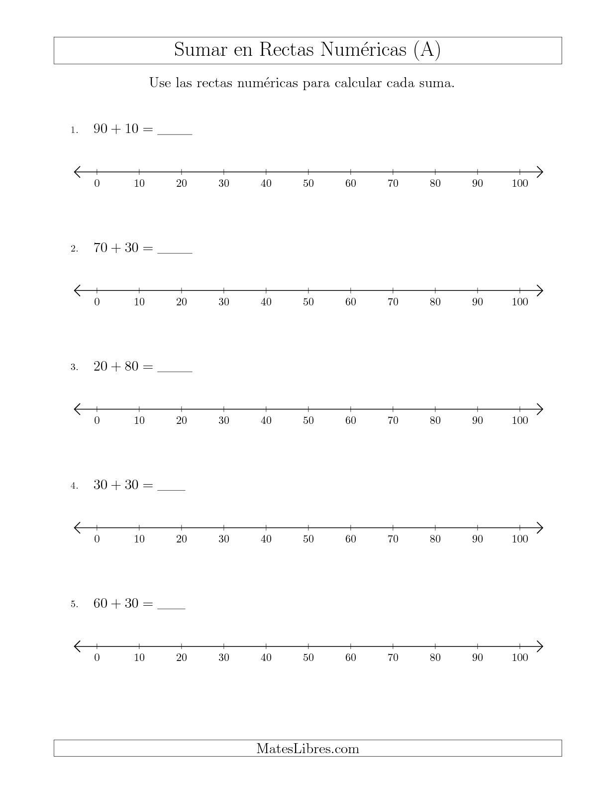 La Sumar Hasta 100 en Rectas Numéricas con Intervalos de Tamaño 10 (A) Hoja de Ejercicio de Rectas Numéricas