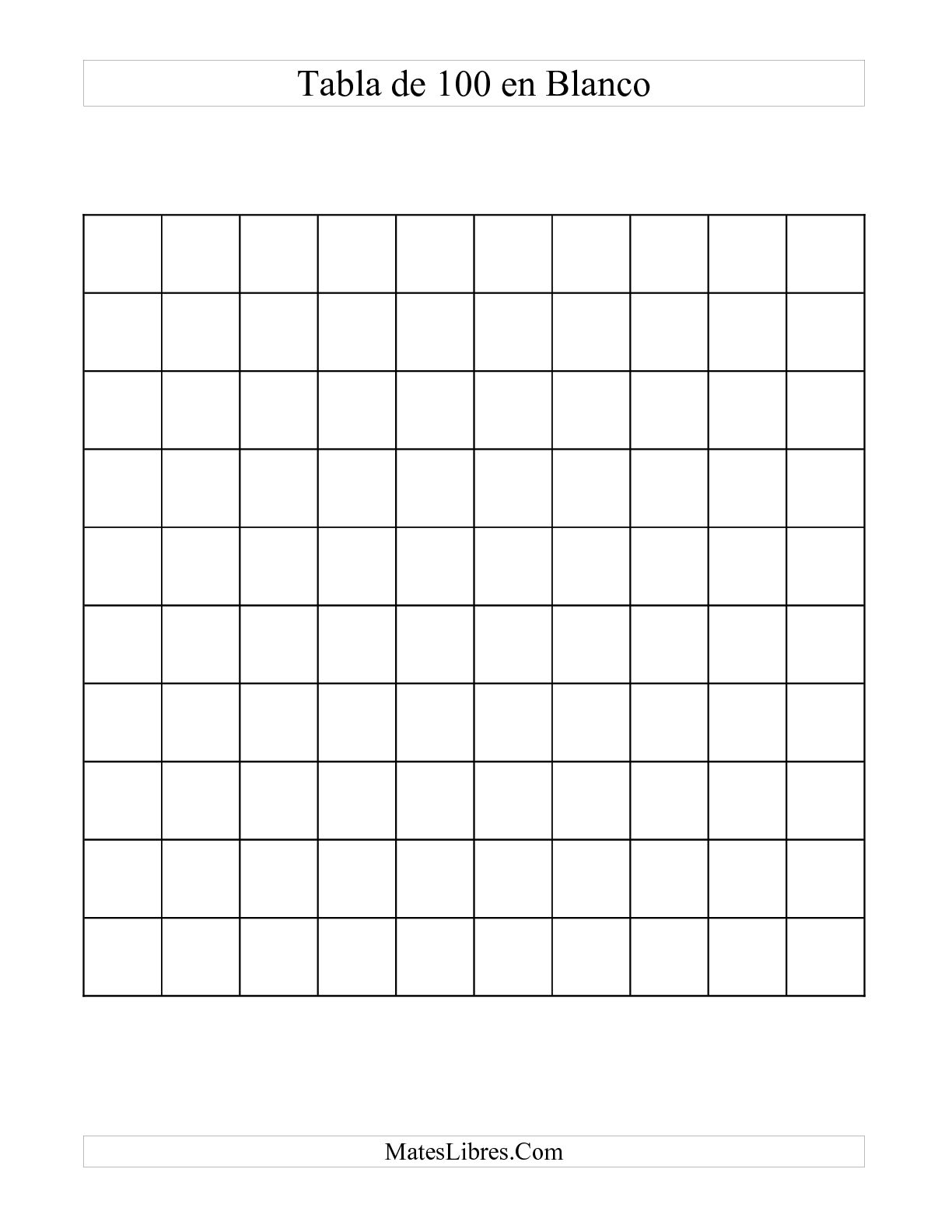 tabla de 100 en blanco hoja de ejercicio de sentido num u00e9rico