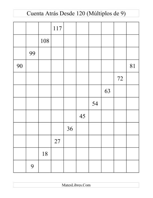 Tabla de 120 Invertida de Múltiplos de 9 (9)
