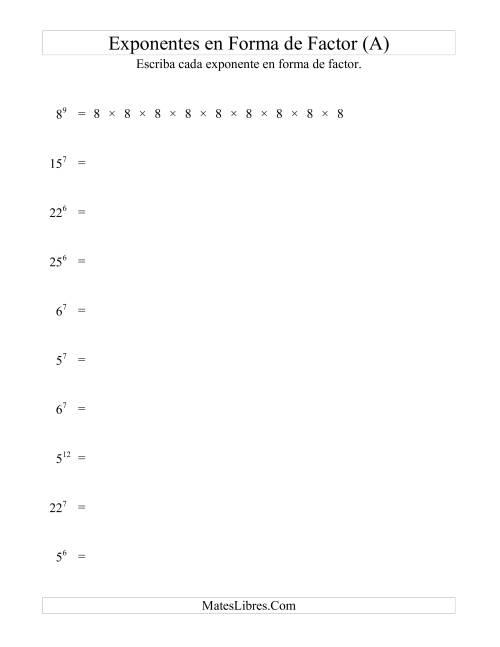 Exponentes en Forma de Factores (A)