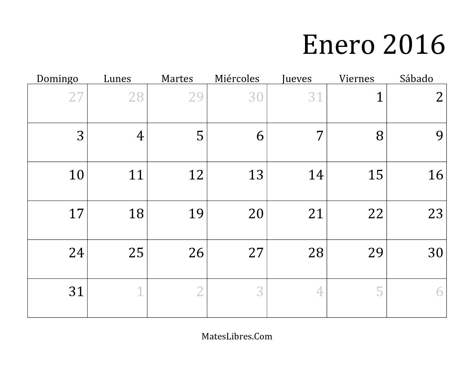 2016 Impresión De Calendario