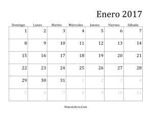 Calendario Mensual del 2017