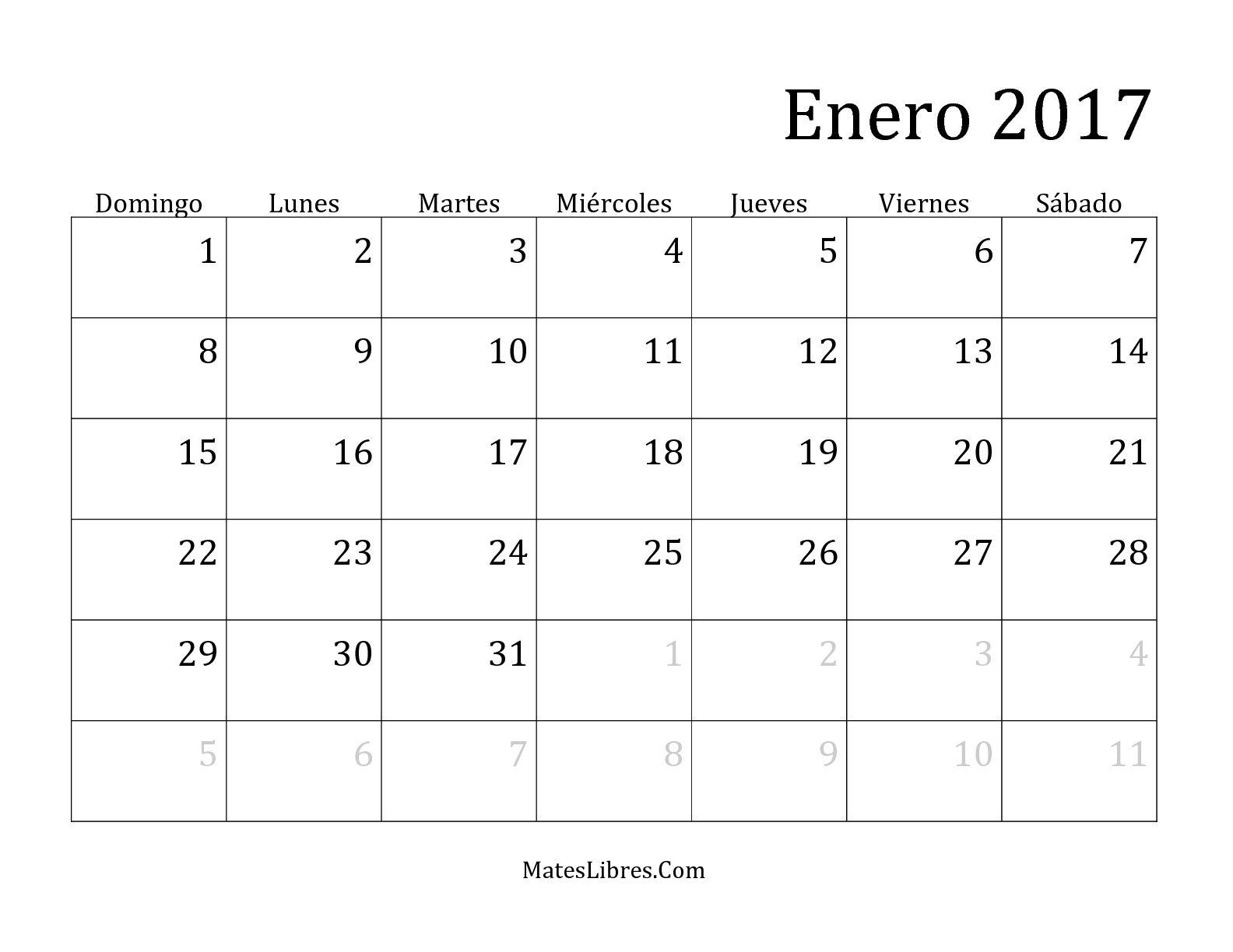 Calendario mensual del 2017 hoja de ejercicio de tiempo - Calendario 2017 para imprimir por meses ...