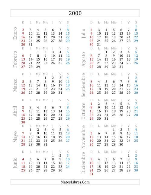 Calendario Del 2000.Calendario Del Ano 2000 A