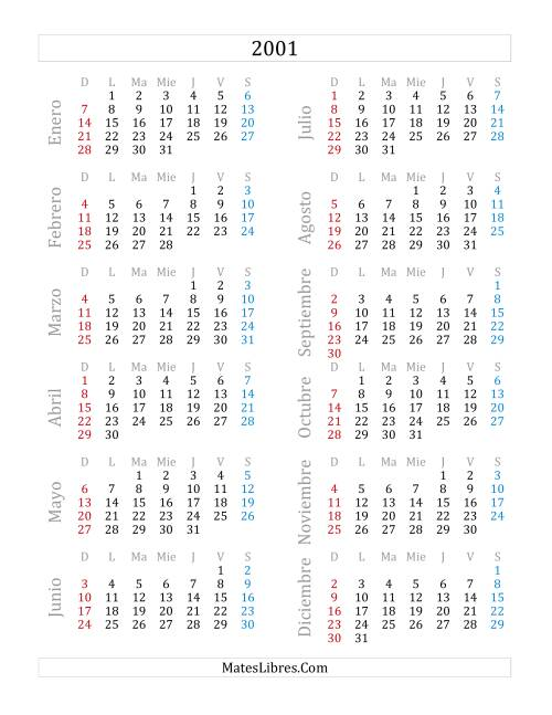 Calendario 2001.Calendario Del Ano 2001 A