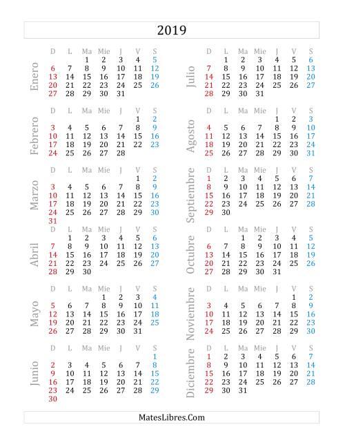 Calendario Del Ano 2019 A