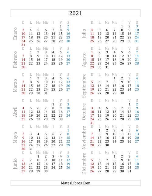 Calendario del Año 2021 (A)