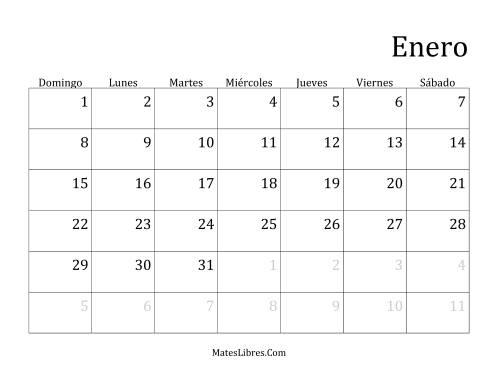 Calendario Mensual De Anos Que Comienzan En Domingo A