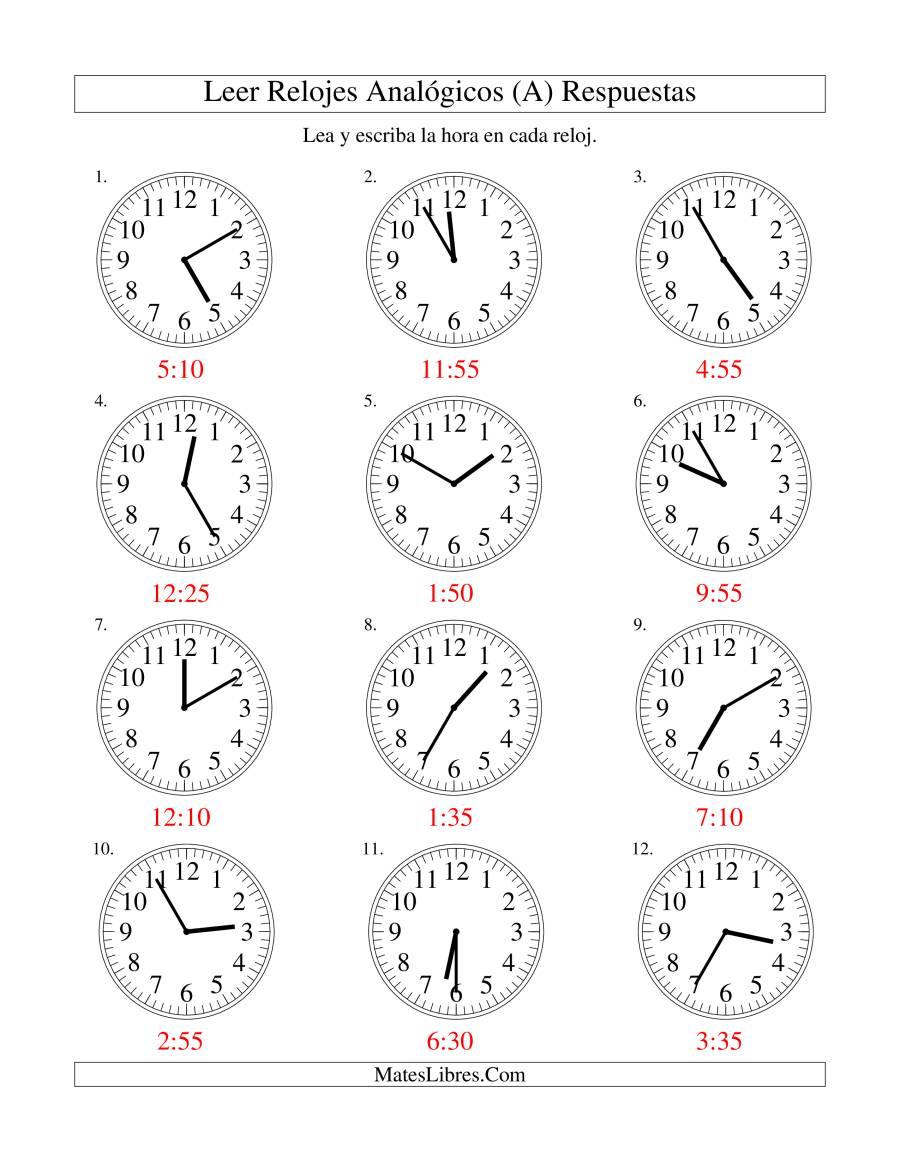 Leer la Hora en un Reloj Analógico en Intervalos de 5 Minutos (A)