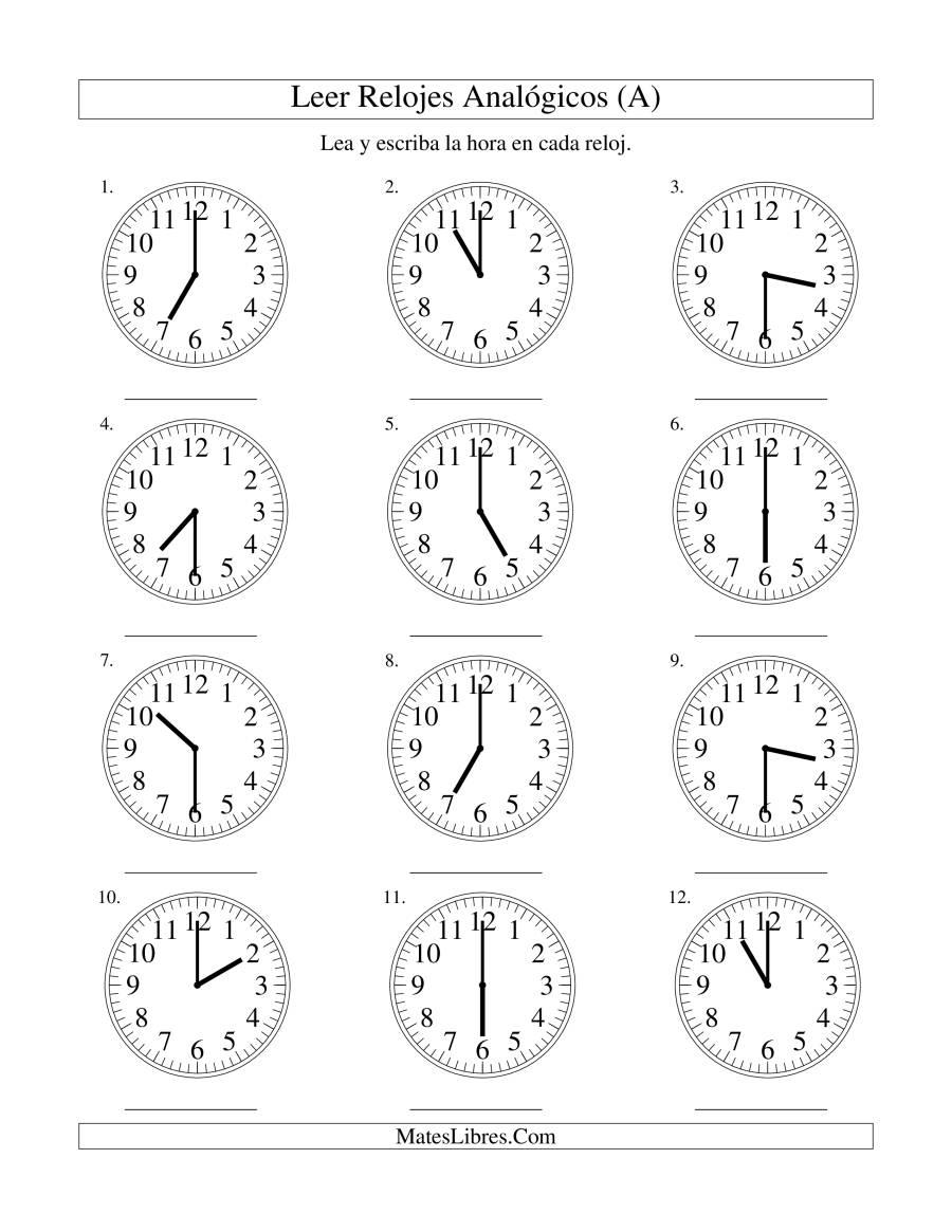 Leer la Hora en un Reloj Analógico en Intervalos de 30 Minutos (A)
