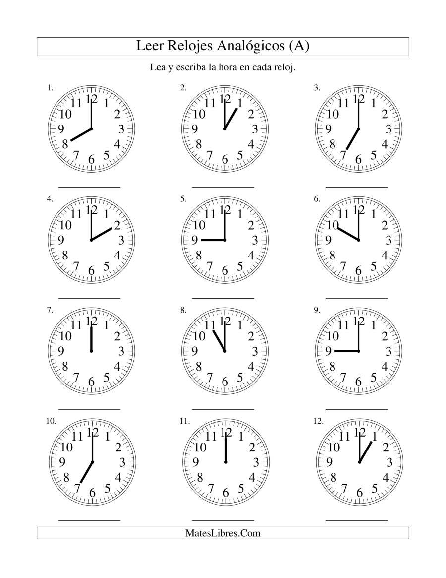 Leer la Hora en un Reloj Analógico en Intervalos de Una Hora (A)