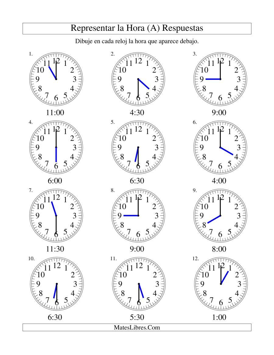 Representar la Hora en un Reloj Analógico en Intervalos de 30 ...